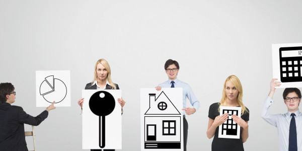 group businesspeople holding poster with chart and real estate